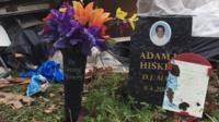 Memorials to Adam Hiskey on the A414