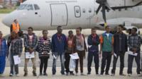 The group of young Eritreans ready to board a plane that will take them to Sweden