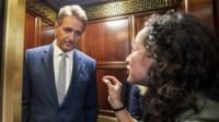 Protestor confronts Senator Jeff Flake in elevator after he announces he is voting to confirm Brett Kavanaugh nomination