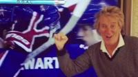Rod Stewart celebrating
