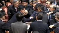 Scuffles in Japan's parliament building
