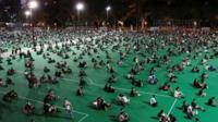 Crowds attend a Tiananmen Square vigil at Hong Kong's Victoria Park