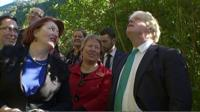 Boris Johnson with New Zealand minister Maggie Barry