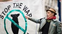 """Mark Rylance attends a protest against the British government""""s proposed involvement in air strikes"""