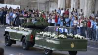 An urn holding the ashes of the late Cuban leader, Fidel Castro.