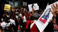 Women marching in Nairobi
