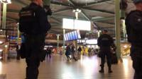 Police in Schiphol airport building