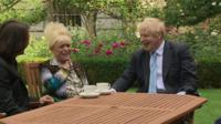 Barbara Windsor and Boris Johnson laughing