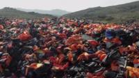 Abandoned life jackets in Lesbos
