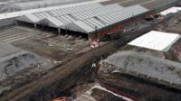 Aerial view of old rail depot sheds