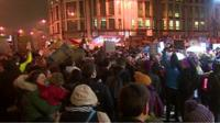 Demonstrators take to the streets in Cardiff in one of several Welsh protests over US President Donald Trumps decision to halt its refugee programme