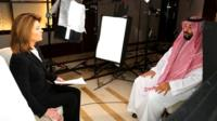 Saudi Arabia's Crown Prince Mohammed bin Salman speaks during an interview