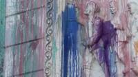 Monument splattered in paint