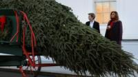 Melania and Barron Trump receive the 2017 White House Christmas tree.