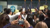 Nancy Pelosi heckled by protesters