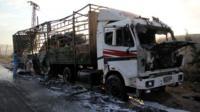 Damaged aid truck outside Aleppo