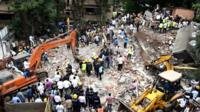 View of collapsed building