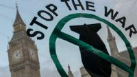 Stop the War banner outside Parliament