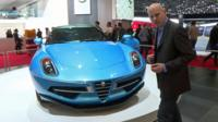 BBC reporter Theo Leggett and an Alfa Romeo at the Geneva Motor SHow