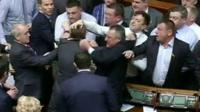 Fighting in Ukraine parliament
