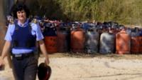 Gas canisters at the destroyed house in the Spanish town of Alcanar used by suspected jihadists behind the Barcelona and Cambrils attacks, 20 August 2017