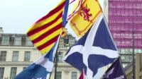 Catalan flag and Scottish Saltire