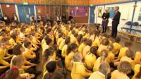 Children at school assembly