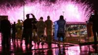 Fireworks are seen at Maracana Stadium