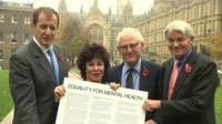 (l-r) Alastair Campbell, Ruby Wax, Norman Lamb and Andrew Mitchell