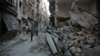 Damage in Aleppo, Syria