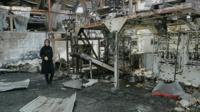 Inside a damaged Yemen factory
