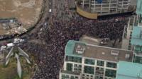 Aerial of protesters in London