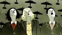 Cartoon figures look up at planes in the sky