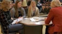 Four candidates faces pupils at Hanley Castle High School