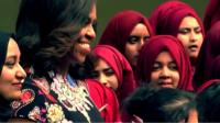 Michelle Obama at school visit