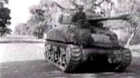Black and white image of a tank