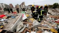 Rubble after explosion in Ningbo