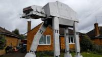 Star Wars AT-AT model in garden