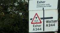 Esher and Walton road sign