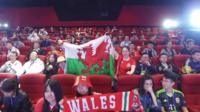 Chinese fans greet Welsh players in Nanning