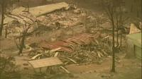 Aerial view of burned building in Gippsland, Victoria