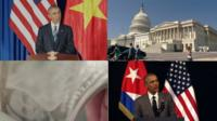 a collection of images showing President Obama in Cuba, in Vietnam, US Congress and a hundred dollar bill