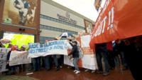 Blackburn Rovers and Blackpool FC protesters