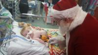Stanley Scarratt met Father Christmas in hospital