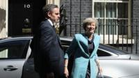 Prime Minister Theresa May arriving at 10 Downing Street.