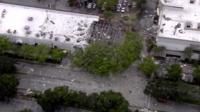 Aerial shot of damage to building