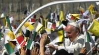 Pope Francis arrives to celebrate a Mass in Ecatepec, Mexico