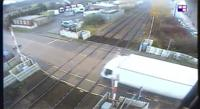 CCTV footage shows the vehicle being driven at speed, just moments before a train was due.