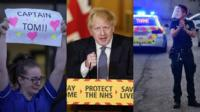 Montage of nurse, Boris Johnson and police officer