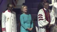 Hillary Clinton on the church stage